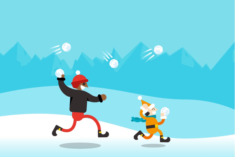 pelea de bolas de nieve, snowball storm