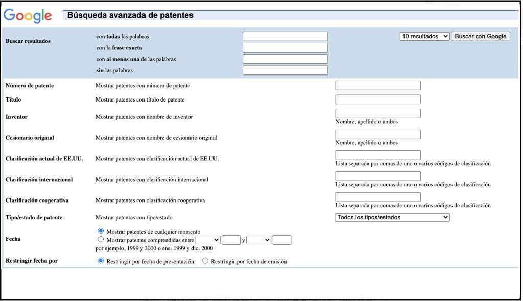 google patents en español, google patents busqueda avanzada